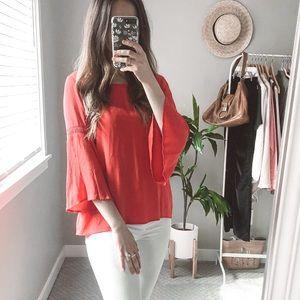 ANTHROPOLOGIE red bell sleeve long sleeve shirt S